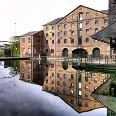 Victorian warehouses reflected in the canal basin, Victoria Quays in Sheffield .@andrewlawrencecunningham   Victoria Quays Sheffield dleiffehS syauQ airotciV   Webstagram - the best Instagram viewer
