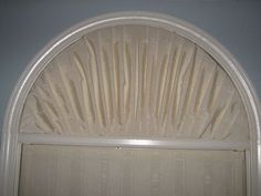 arch window drapery half circle window coverings fabric covered foam for an arched window semi circle window curtain rods arch window curtains ideas Arched Window Coverings, Curtains For Arched Windows, Small Window Curtains, Window Curtain Rods, Curtains With Blinds, Arch Windows, Front Windows, Valances, Half Circle Window