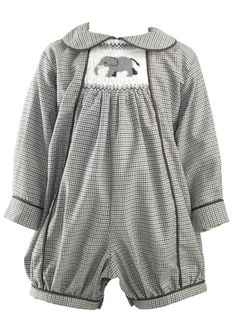 a09b2f325b03 Elephant Smocked Babysuit Babysuits Clothing & Accessories Designer Baby  Clothes & Shoes, British Designs For Boys & Girls at Rachel Riley USA.