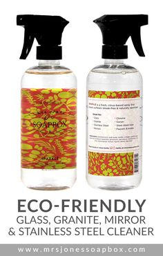 SPARKLE by Mrs. Jones' Soapbox is a fresh, citrus-based spray that leaves surfaces streak-free & naturally sanitized. It's eco-friendly and non-toxic too! Get it here: http://mrsjonessoapbox.com/collections/product-line/products/sparkle-glass-granite-mirror-stainless-steel-cleaner #mrsjonessoapbox #house #home #cleaning #natural