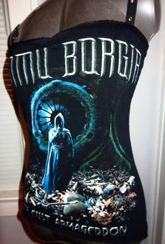 Ladies Dimmu Borgir upcycled DIY heavy metal black metal tank top.
