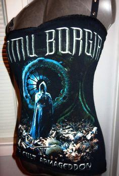 Ladies Dimmu Borgir upcycled DIY heavy metal black metal tank top.