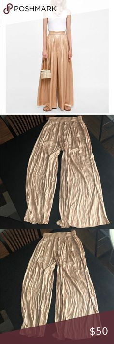 Zara Pleated Gold Pants Size Small Size Small  Good condition Zara Pants