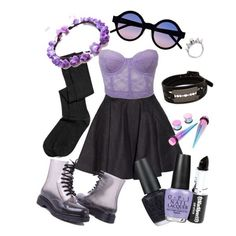 Black and lilac look pastel goth