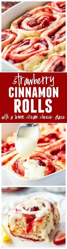 Strawberry Cinnamon Rolls with Lemon Cream Cheese Glaze. Delicious quick and easy cinnamon rolls bursting with luckyleaf strawberry pie filling! These are amazing! Strawberry Cinnamon Rolls, Best Cinnamon Rolls, Strawberry Recipes, Strawberry Pie, Breakfast Recipes, Dessert Recipes, Breakfast Cake, Breakfast Ideas, Birthday Breakfast