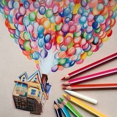 Image in Art/Drawings/Paintings✏🎨 collection by Disney Kunst, Arte Disney, Disney Art, Disney Pixar, Colorful Drawings, Cute Drawings, Drawing Sketches, Color Pencil Art, Disney Drawings