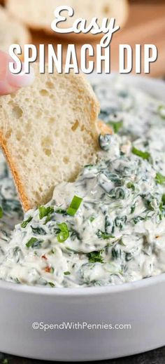 Spinach Dip is an easy 5 minute recipe that everyone absolutely loves. This is the perfect game day appetizer recipe! Spinach Dip is an easy 5 minute recipe that everyone absolutely loves. This is the perfect game day appetizer recipe! Best Spinach Dip, Creamy Spinach Dip, Cold Spinach Dip, Spinach Dip Recipe Easy, Healthy Spinach Dip, Game Day Appetizers, Appetizer Dips, Appetizer Recipes, Food Network