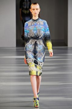 Peter Pilotto for spring 2012 - gorgeous prints, it's got a lacquered, glossy effect. The collection is inspired by the tropical forests of Java. Brilliant!