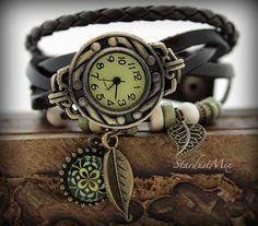 Weinlese-echtes Leder-Armbanduhr von StardustMix auf Etsy