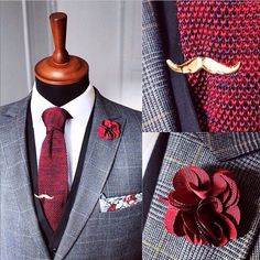 This is a really cool #classy style. #shifting red knitted tie, the red rose lapels and the pochette are available on WWW.NOHOWSTYLE.COM #grandfrankofficial #nohow