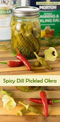 This Spicy Dill Pickled Okra recipe is ideal for canning for for storing in your refrigerator! Tender okra pods soak up the tangy brine infused with dill and a touch of heat! Canning Pickled Okra, Pickled Okra Recipes, Canning Recipes, Spicy Recipes, Veggie Recipes, Easy Canning, Canning Pickles, Pickled Onions, Barbecue Recipes