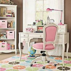 oficina : Una Oficina con Color, Estilo Vintage y Femenina