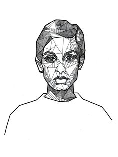 Geometric portrait of Twiggy by Allison Kunath / ink on paper drawing, 9x12 | Art