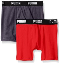 PUMA Big Boys 2 Pack Cotton Boxer Brief, Bright Red, Large