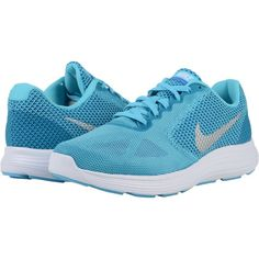 Nike Revolution 3 (Gamma Blue/Photo Blue/Game Royal/Metallic Silver)... ($48) ❤ liked on Polyvore featuring shoes, athletic shoes, blue, nike footwear, laced shoes, lace up shoes, nike and athletic running shoes