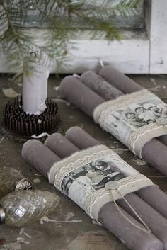 gray candles wrapped