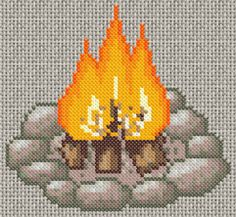 Counted cross stitch pattern pdf instant download cosy - Grille un feu orange combien de point ...