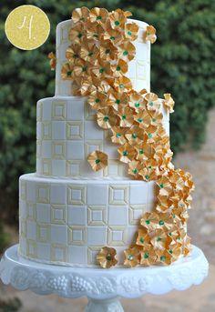 gold green art deco indian wedding cake via IndianWeddingSite.com