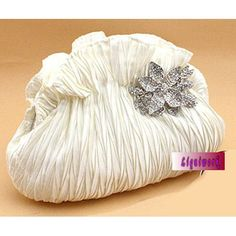 White Soft Silk Wedding Bridal Party Evening Clutch Purse Bags Sale  SKU-1110520