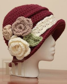 $6~PDF Pattern - Elegant Rouched Cloche with Roses | PDDesigns - Patterns on ArtFire