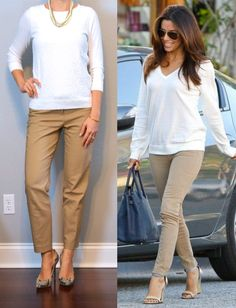 outfit posts: beige ankle pant, white lace sweater, snakeskin pumps | Outfit Posts | Bloglovin'