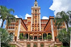 Biltmore Hotel, Coral Gables, Florida - south elevation overlooking the Donald Ross-designed golf course. Schultze & Weaver, architect, 1925-1926. As magnificent as the day it opened, the Biltmore Hotel is owned by the City of Coral Gables.