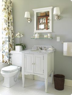 DOWNSTAIRS BATHROOM MAKEOVER IDEAS    Fabric: Four Seasons in the color Winter by Victoria Hagan Home    {melissa note: I found it here, but I'm sure it's a pretty penny}    Paint: Farrow & Ball paint in Lamp Room Gray.    {melissa note: if you go to colorcharts, a 97.7% match is Behr's Plymouth Gray if you don't have Farrow&Ball near you}