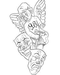 Card Tattoo Designs, Old School Tattoo Designs, Angel Tattoo Designs, Tattoo Design Drawings, Angel Sleeve Tattoo, Forearm Sleeve Tattoos, Arm Tattoos Lettering, Neue Tattoos, Chest Tattoo Stencils