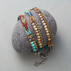 Multitudes Wrap Bracelet: Any which way this hand-loomed bracelet of Japanese, brass and Czech fire-polished beads wraps around your wrist is pure loveliness. Sterling silver end caps and lobster clasp. By Adonnah Langer. Hippie Bracelets, Bead Loom Bracelets, Unique Bracelets, Hippie Jewelry, Handmade Bracelets, Beaded Jewelry, Handmade Jewelry, Wrap Bracelets, Stacking Bracelets
