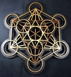 Metatron's Cube Wall Art Stained Black base by RadiantHeartsLLC