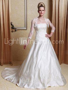 A-line Scalloped-Edge Neckline Court Train Satin Wedding Dress With A Wrap