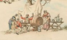 19th century illustration detail of a Army camp life