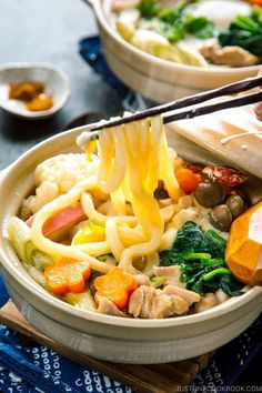 Topped with chicken, tempura & heaps of vegetables in an umami dashi soup, Nabeyaki Udon would be your favorite kind of comfort food. #nabeyakiudon #udon | Easy Japanese Recipes at JustOneCookbook.com Sushi Recipes, Asian Recipes, Ethnic Recipes, Asian Foods, Noodle Recipes, Udon Recipes, Drink Recipes, Japanese Udon, Easy Japanese Recipes