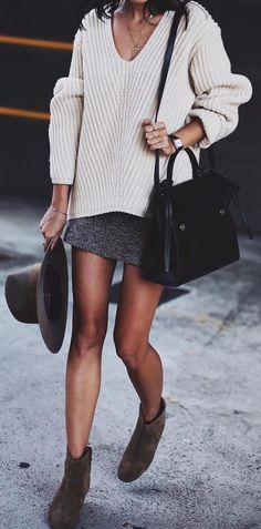 #winter #fashion /  White V-neck Knit + Grey Skirt