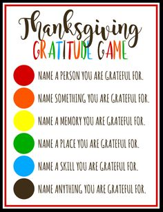 Thanksgiving Gratitude Game - A fun game for the whole family!