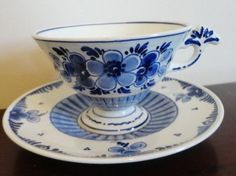 Delft Made In Holland Vintage Blue Floral Cup & Saucer