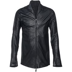 LEON EMANUEL BLANCK Forced Leather Black // Leather shirt ($2,690) ❤ liked on Polyvore featuring men's fashion, men's clothing, men's shirts, men's casual shirts, mens leather shirt, mens slim fit short sleeve shirts, mens zip shirt and mens slim fit casual shirts