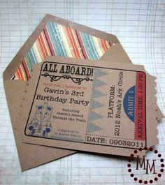 The Scrap Shoppe: Thomas Train Ticket Birthday Invitations--I know friend who would love this for her little boy.