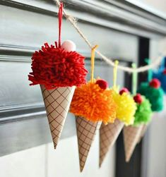 Make yarn pom poms and paper cones in to a bright and colorful DIY ice cream con. - Make yarn pom poms and paper cones in to a bright and colorful DIY ice cream cone garland. Cute Crafts, Kids Crafts, Diy And Crafts, Kids Diy, Creative Ideas For Kids, Craft Ideas For Adults, Adult Crafts, Crafts For Kids To Make, Decor Crafts
