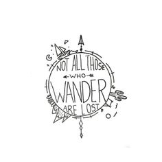 "Easy Drawings - ""Not all those who wander are lost."" This amazing quote from J.R Tolkien makes us all want to wander the world ourselves. Accented with cacti, mountains and the sea it encompasses all the places us wanderers may want to go. Jrr Tolkien, Art Inspiration Drawing, Logo Design Inspiration, Tattoo Inspiration, Cute Tattoos, Small Tattoos, Easy Tattoos To Draw, Tatoos, Awesome Tattoos"