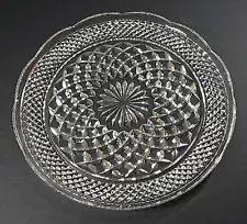 Wexford 9½\  DINNER PLATE Anchor Hocking Scalloped Edge Diamond Crystal Clear & crystal dinnerware | Fire King Wexford Crystal Dinner Plates For ...