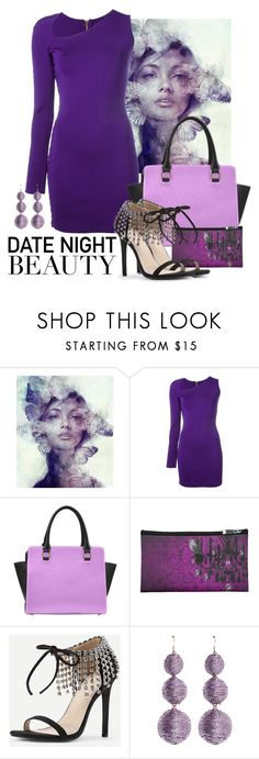 """""""Purple & Lavender Date Night Beauty"""" by colormegirly ❤ liked on Polyvore featuring Balmain, Kenneth Jay Lane, handbags, fashionset and polyvoreset"""