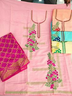 Embroidery Suits Punjabi, Embroidery Suits Design, Embroidery Fashion, Kids Suits, Work Suits, Designer Punjabi Suits Patiala, Salwar Suit Neck Designs, Punjabi Suit Boutique, Designer Party Wear Dresses