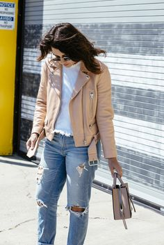 The most versatile piece for your spring wardrobe (or for any season, really!) -- the blush leather jacket. What I Wore, Blush, Leather Jacket, My Style, Jackets, How To Wear, Outfits, Shopping, Studded Leather Jacket