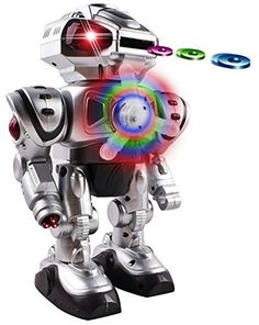 Android Battery Operated Disc Shooting Toy Robot Walking,...