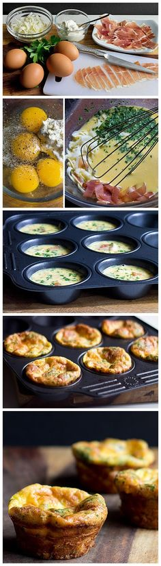 #KatieSheaDesign ♡❤ ❥▶  Mini Frittata Cups with Mascarpone and Prosciutto Recipe  #FCpinpartners