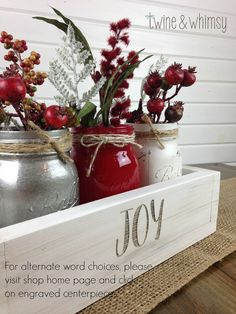 This beautiful handmade centerpiece is very versatile and can be used for a table or mantle centerpiece, or a special event. It is hand cut and assembled from high quality, hand-picked pine, then sanded and painted or stained and hand-distressed in the finish of your choice. The knots and wood grain give each piece individual character and rustic charm. The jars are hand-painted, distressed and sealed. Check out our customer reviews for assurance of our excellent quality, craftsmanship and…