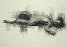 Reclining nude Figure on paper, Charcoal