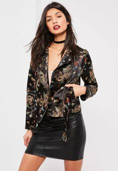 Go for this all black biker jacket in a silky material with luxe floral embroidered print.