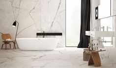 Bathroom Inspiration: Sneak peek Bathroom with porcelain marble-effect floors and walls and plywood stools - Marble Bathroom Dreams Bathroom Niche, Bathroom Wallpaper, Bathroom Marble, Bathroom Goals, Master Bathrooms, Family Bathroom, Dream Bathrooms, Bathroom Cabinets, Bad Inspiration